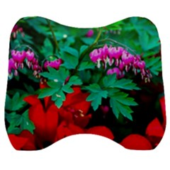 Bleeding Heart Flowers Velour Head Support Cushion by FunnyCow