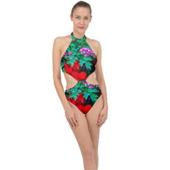 Bleeding Heart Flowers Halter Side Cut Swimsuit by FunnyCow
