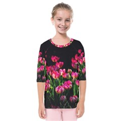 Pink Tulips Dark Background Kids  Quarter Sleeve Raglan Tee by FunnyCow