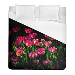 Pink Tulips Dark Background Duvet Cover (full/ Double Size) by FunnyCow