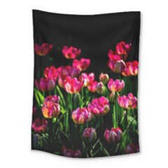 Pink Tulips Dark Background Medium Tapestry by FunnyCow