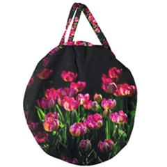 Pink Tulips Dark Background Giant Round Zipper Tote by FunnyCow
