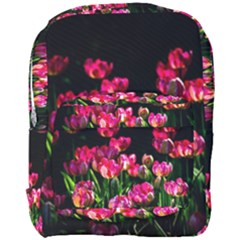 Pink Tulips Dark Background Full Print Backpack by FunnyCow
