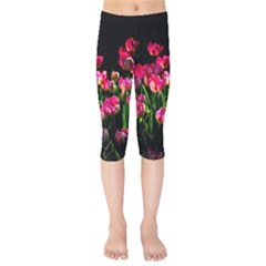 Pink Tulips Dark Background Kids  Capri Leggings  by FunnyCow