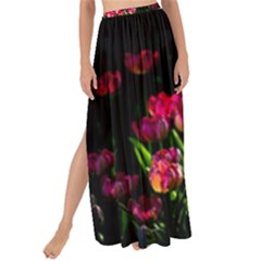 Pink Tulips Dark Background Maxi Chiffon Tie Up Sarong by FunnyCow