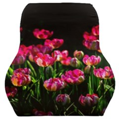 Pink Tulips Dark Background Car Seat Back Cushion  by FunnyCow