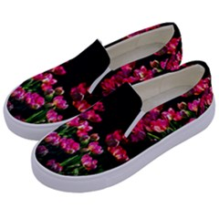 Pink Tulips Dark Background Kids  Canvas Slip Ons by FunnyCow