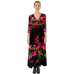 Pink Tulips Dark Background Button Up Boho Maxi Dress by FunnyCow