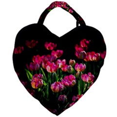 Pink Tulips Dark Background Giant Heart Shaped Tote by FunnyCow