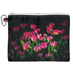 Pink Tulips Dark Background Canvas Cosmetic Bag (xxl) by FunnyCow
