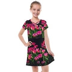 Pink Tulips Dark Background Kids  Cross Web Dress by FunnyCow