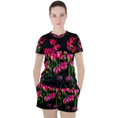Pink Tulips Dark Background Women s Tee And Shorts Set by FunnyCow