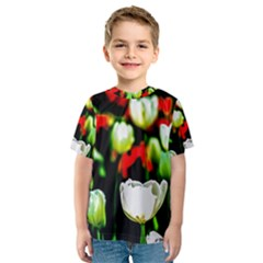 White And Red Sunlit Tulips Kids  Sport Mesh Tee