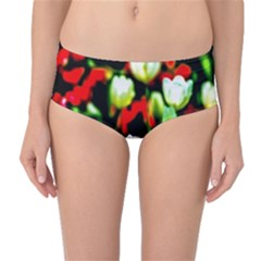 White And Red Sunlit Tulips Mid Waist Bikini Bottoms by FunnyCow