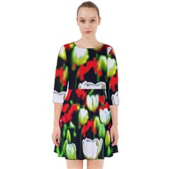 White And Red Sunlit Tulips Smock Dress