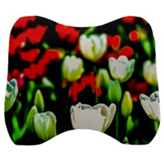 White And Red Sunlit Tulips Velour Head Support Cushion by FunnyCow