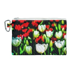 White And Red Sunlit Tulips Canvas Cosmetic Bag (large) by FunnyCow