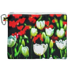 White And Red Sunlit Tulips Canvas Cosmetic Bag (xxl) by FunnyCow