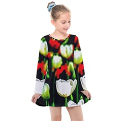 White And Red Sunlit Tulips Kids  Long Sleeve Dress