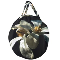 Two White Magnolia Flowers Giant Round Zipper Tote by FunnyCow