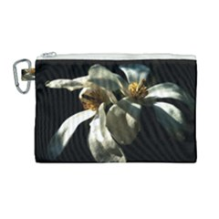 Two White Magnolia Flowers Canvas Cosmetic Bag (large) by FunnyCow
