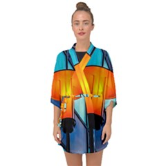 Orange Light Half Sleeve Chiffon Kimono