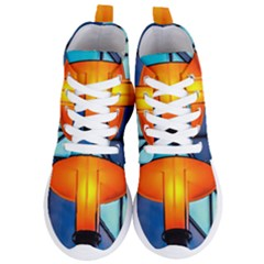 Orange Light Women s Lightweight High Top Sneakers by FunnyCow