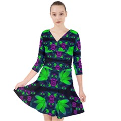 Fantasy Flowers In Moonlight Serenades Quarter Sleeve Front Wrap Dress