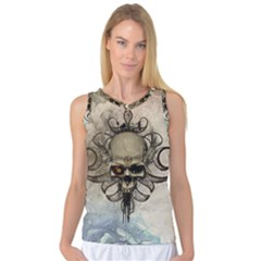 Awesome Creepy Skull With  Wings Women s Basketball Tank Top by FantasyWorld7