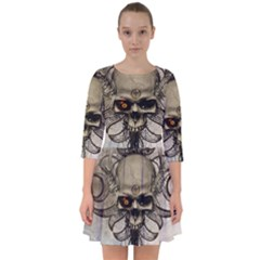 Awesome Creepy Skull With  Wings Smock Dress