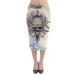 Awesome Creepy Skull With  Wings Velvet Midi Pencil Skirt by FantasyWorld7