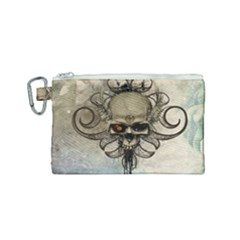 Awesome Creepy Skull With  Wings Canvas Cosmetic Bag (small) by FantasyWorld7