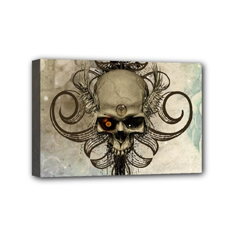 Awesome Creepy Skull With  Wings Mini Canvas 6  X 4  by FantasyWorld7