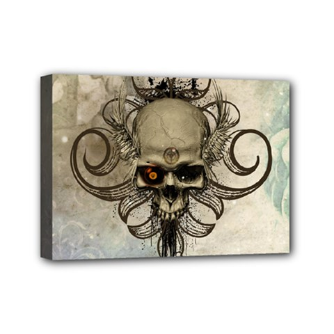 Awesome Creepy Skull With  Wings Mini Canvas 7  X 5  by FantasyWorld7