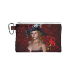Beautiful Fantasy Women With Floral Elements Canvas Cosmetic Bag (small) by FantasyWorld7