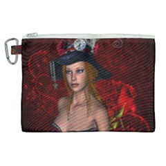 Beautiful Fantasy Women With Floral Elements Canvas Cosmetic Bag (xl) by FantasyWorld7
