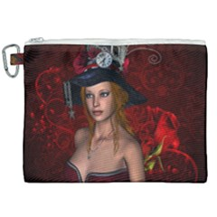Beautiful Fantasy Women With Floral Elements Canvas Cosmetic Bag (xxl) by FantasyWorld7