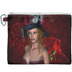 Beautiful Fantasy Women With Floral Elements Canvas Cosmetic Bag (xxxl) by FantasyWorld7