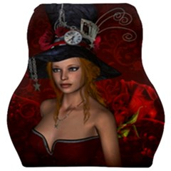 Beautiful Fantasy Women With Floral Elements Car Seat Velour Cushion  by FantasyWorld7