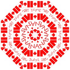 Canada Day Maple Leaf Canadian Flag Pattern Typography  Folding Umbrellas by yoursparklingshop