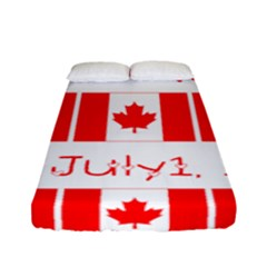 Canada Day Maple Leaf Canadian Flag Pattern Typography  Fitted Sheet (full/ Double Size) by yoursparklingshop
