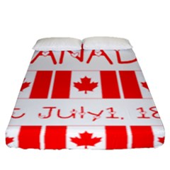 Canada Day Maple Leaf Canadian Flag Pattern Typography  Fitted Sheet (queen Size) by yoursparklingshop