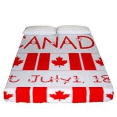 Canada Day Maple Leaf Canadian Flag Pattern Typography  Fitted Sheet (california King Size) by yoursparklingshop