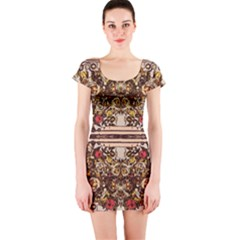Roses Floral Wallpaper Flower Short Sleeve Bodycon Dress by Nexatart