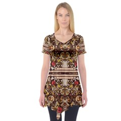 Roses Floral Wallpaper Flower Short Sleeve Tunic