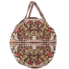 Roses Floral Wallpaper Flower Giant Round Zipper Tote