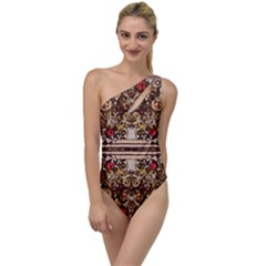 Roses Floral Wallpaper Flower To One Side Swimsuit