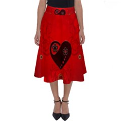 Wonderful Heart On Vintage Background Perfect Length Midi Skirt by FantasyWorld7