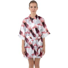 Flamingo Pineapple Tropical Pink Pattern Quarter Sleeve Kimono Robe by CrypticFragmentsColors