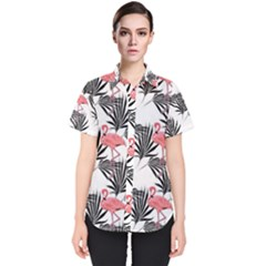 Pink Flamingos Palmetto Fronds Tropical Pattern Women s Short Sleeve Shirt